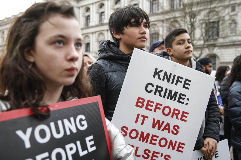 LONDON, ENGLAND - DECEMBER 07: Protestors participate in A March To Stop Knife Crime by The Tashan Daniel Campaign on December 7, 2019 in London, England. Tashan was stabbed to death two days after his 20th birthday in an unprovoked attack on his way to Arsenal. (Photo by Hollie Adams/Getty Images)