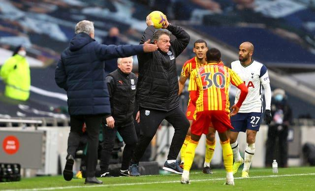 West Brom manager Sam Allardyce pretends to take a throw in during his side's Premier League defeat at Tottenham