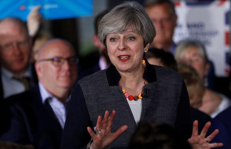 Britain's Prime Minister Theresa May speaks at a campaign event in Bristol