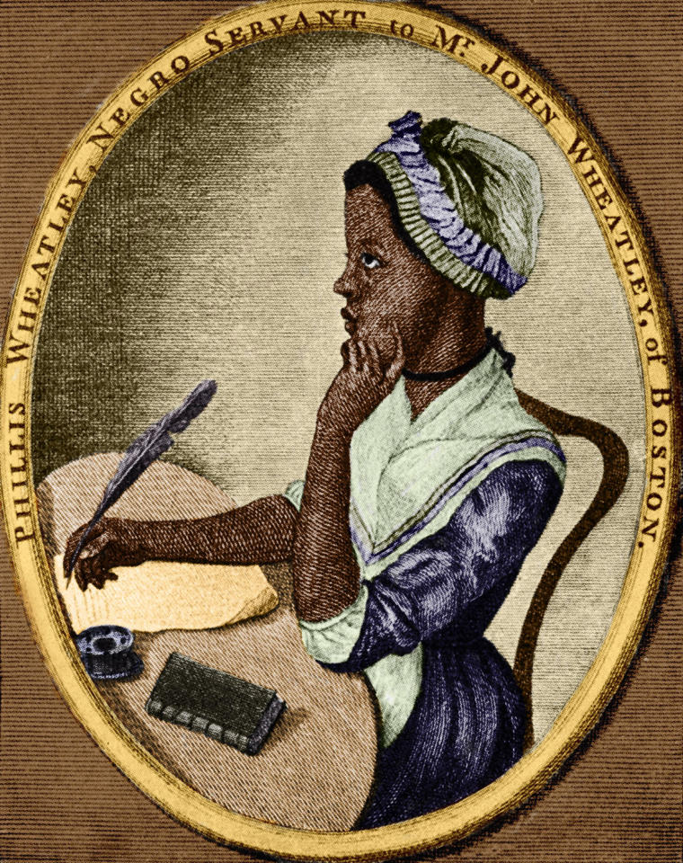<p>1773 – PHILLIS WHEATLEY – LITERATURE —The first known African American woman published. — African-American poet: 1753 – December 5, 1784. As illustrated by Scipio Moorhead on the front page of her book 'Poems on Various Subjects'. (Culture Club/Getty Images) </p>