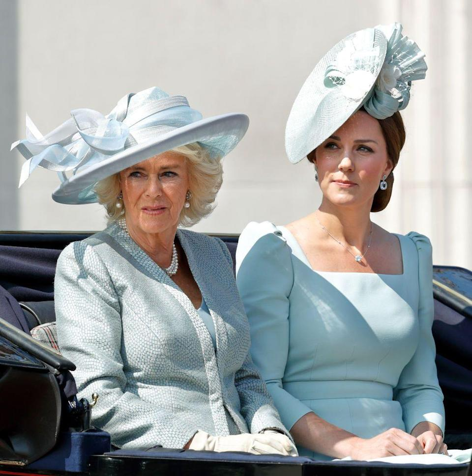 """<p>Camilla Parker Bowles wore a powder blue Bruce Oldfield ensemble which she paired with a celebratory hat designed by Philip Treacy to <a href=""""https://www.townandcountrymag.com/society/tradition/a10016954/trooping-the-colour-facts/"""" rel=""""nofollow noopener"""" target=""""_blank"""" data-ylk=""""slk:Trooping the Colour"""" class=""""link rapid-noclick-resp"""">Trooping the Colour</a> 2018.</p>"""