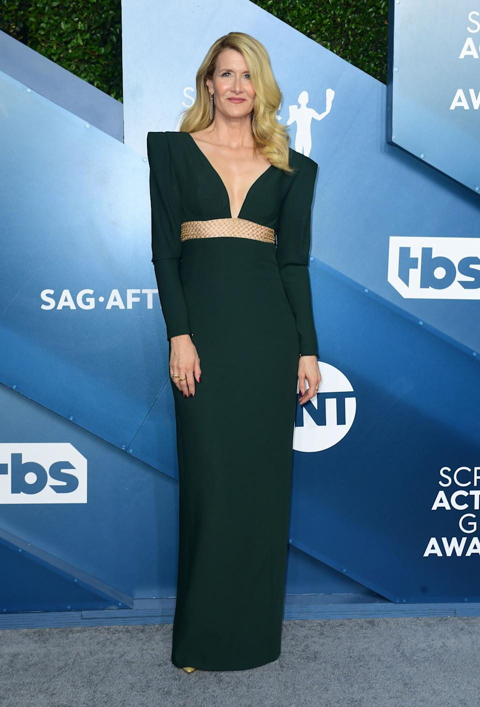 <h2>Laura Dern in Stella McCartney</h2><br>Laura Dern is looking more statuesque than ever in this bold-shouldered hunter green look.