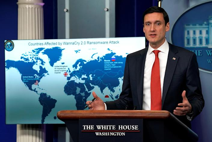 Tom Bossert, homeland security adviser to President Trump, accuses North Korea of unleashing the so-called WannaCry cyberattack, Dec. 19, 2017. (Photo: Kevin Lamarque/Reuters)
