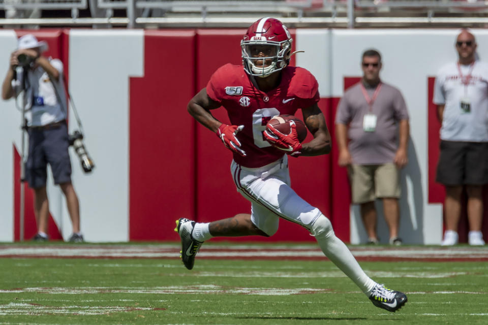 Alabama wide receiver DeVonta Smith (6) plays during the second half of an NCAA college football game against Southern Miss, Saturday, Sept. 21, 2019, in Tuscaloosa, Ala. DeVonta Smith is The Associated Press college football player of the year, becoming the first wide receiver to win the award since it was established in 1998, Tuesday, Dec. 29, 2020. (AP Photo/Vasha Hunt)
