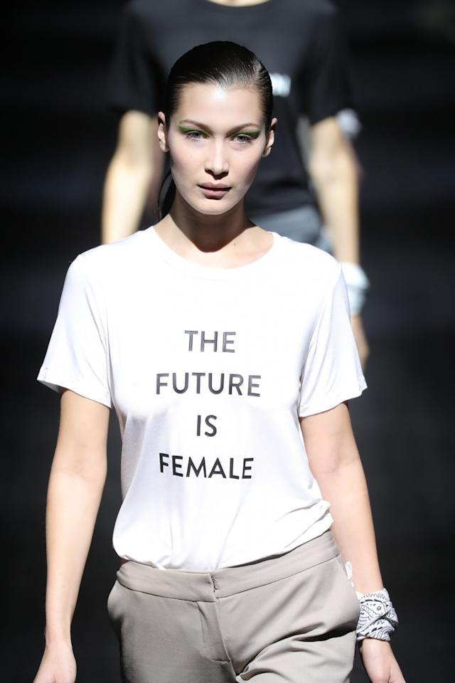 <p>Bella Hadid walks in the Prabal Gurung show, wearing one of a handful of feminism- and equality-stamped T-shirts that the designer featured. (Photo: Getty Images) </p>