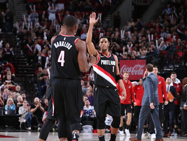 Raise your hand if you have just taken part in a historic offensive power outing! (Sam Forencich/NBAE/Getty Images)