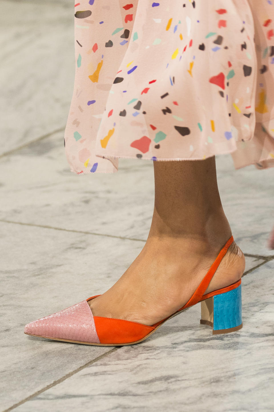 <p><i>Color-block heels from the SS18 Carolina Herrera collection. (Photo: ImaxTree) </i></p>