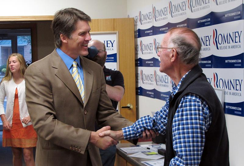 Wisconsin Republican U.S. Senate candidate Eric Hovde greets supporters at a GOP campaign office on Monday, Aug. 13, 2012, in Fitchburg, Wis. Hovde, a political newcomer, is in a four-person race for the Republican nomination against former Gov. Tommy Thompson, former U.S. Rep. Mark Neumann, and state Assembly Speaker Jeff Fitzgerald.  (AP Photo/Scott Bauer)