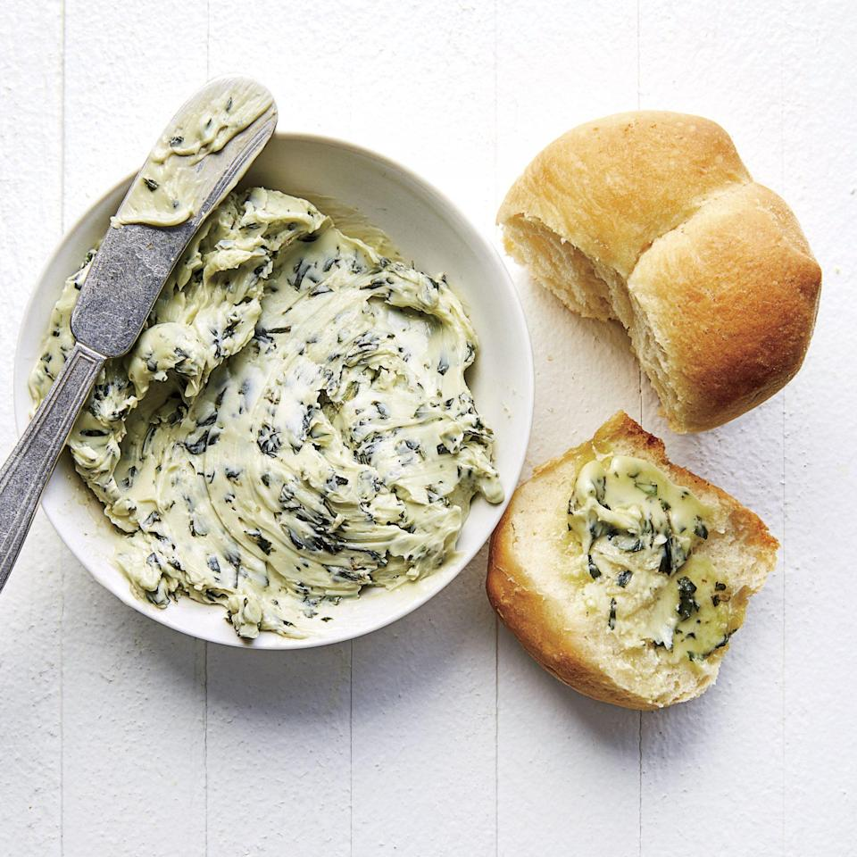 """<p>What can make a hot <a href=""""https://www.southernliving.com/recipes/buttermilk-biscuits"""" rel=""""nofollow noopener"""" target=""""_blank"""" data-ylk=""""slk:buttered biscuit"""" class=""""link rapid-noclick-resp"""">buttered biscuit</a> better than ever? When that butter is blended with fresh basil, that is what. Basil is such an <a href=""""https://www.southernliving.com/garden/grumpy-gardener/grow-basil-the-easiest-herb"""" rel=""""nofollow noopener"""" target=""""_blank"""" data-ylk=""""slk:easy-to grow herb"""" class=""""link rapid-noclick-resp"""">easy-to grow herb</a>, and the more you harvest the plant, the more it grows.</p>"""