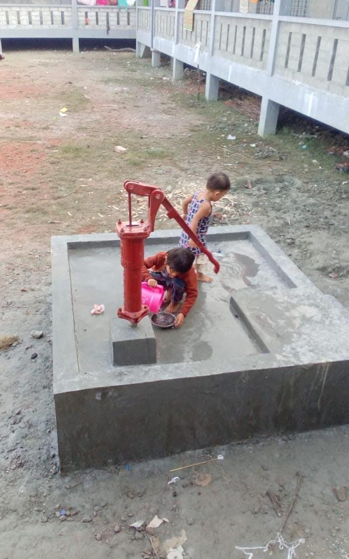 Fresh water is delivered in communal pumps