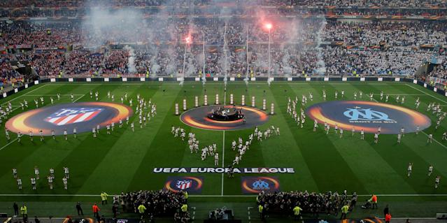 Soccer Football - Europa League Final - Olympique de Marseille vs Atletico Madrid - Groupama Stadium, Lyon, France - May 16, 2018 General view of entertainment before the match REUTERS/Vincent Kessler