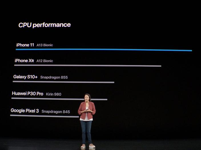 Apple unveiling the A13 Bionic during its iPhone event in September 2019