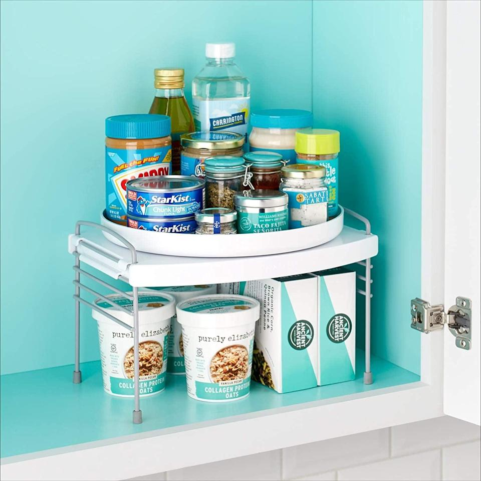 <p>Keep your cabinets organized with this <span>YouCopia Turntable UpSpace Shelf</span> ($21, originally $25). It let's you have access to products in the back plus it's two-tiered so you can make use of all that vertical space.</p>