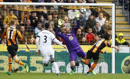 Britain Soccer Football - Hull City v Watford - Premier League - The Kingston Communications Stadium - 22/4/17 Hull City's Lazar Markovic scores their first goal Action Images via Reuters / Jason Cairnduff Livepic