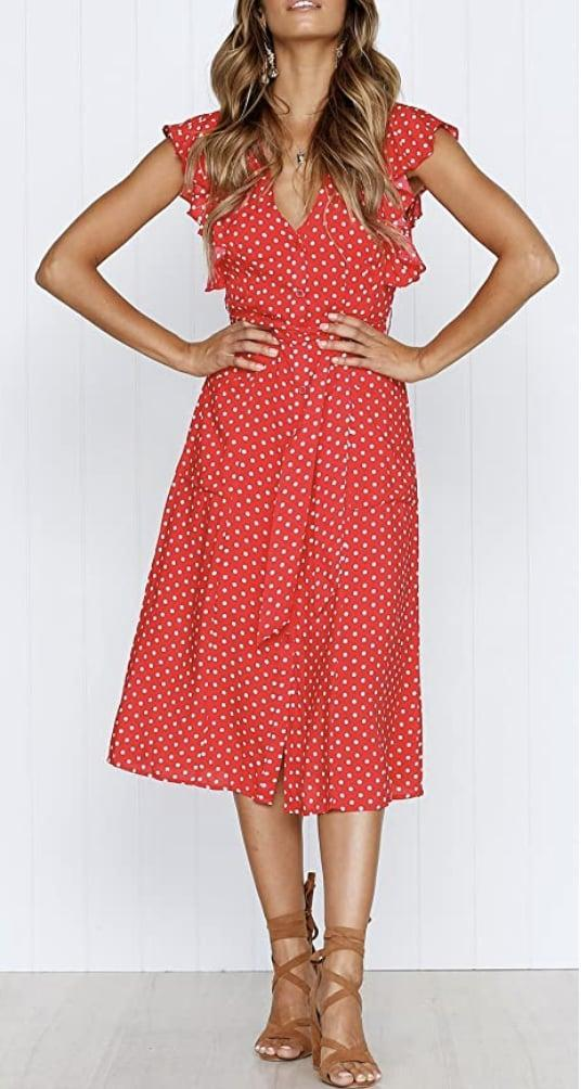 <p>Accentuate your curves with this belted <span>Mitilly Polka-Dot Dress</span> ($22-$29). </p>