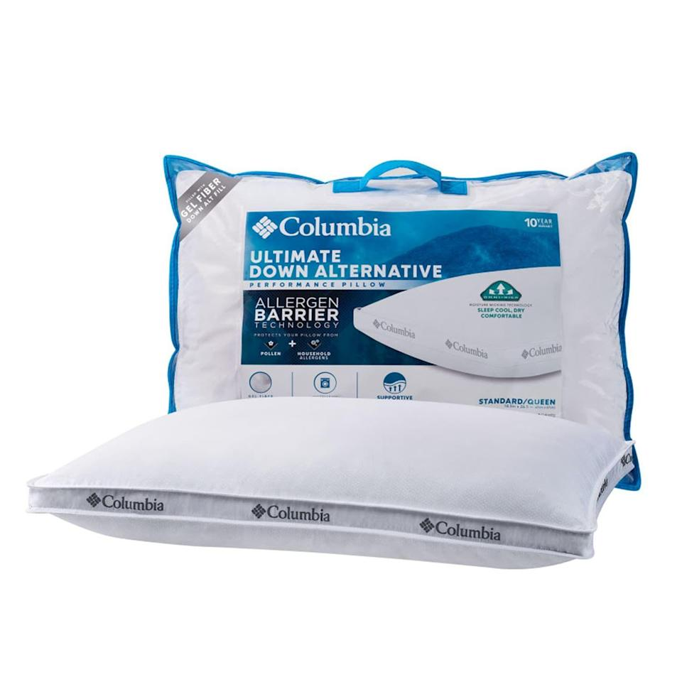 """<p><strong>Columbia</strong></p><p>kohls.com</p><p><strong>$19.99</strong></p><p><a href=""""https://go.redirectingat.com?id=74968X1596630&url=https%3A%2F%2Fwww.kohls.com%2Fproduct%2Fprd-3232222%2Fcolumbia-down-alternative-allergen-barrier-pillow.jsp&sref=https%3A%2F%2Fwww.womenshealthmag.com%2Fhealth%2Fg28691781%2Fhypoallergenic-pillows%2F"""" rel=""""nofollow noopener"""" target=""""_blank"""" data-ylk=""""slk:Shop Now"""" class=""""link rapid-noclick-resp"""">Shop Now</a></p><p>Attention back and side sleepers: This affordable pillow is a soft, cool, and machine washable alternative to down pillows, which can be irritating for many allergy sufferers. It's also frequently on sale (score!).</p>"""
