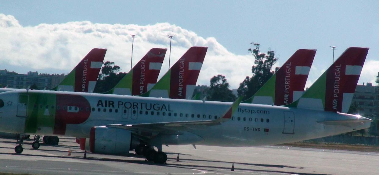 Scene Of Lots Of Packed TAP Air Portugal Passengers Airplane Due To COVID-19 Pandemic Lockdown At Lisbon International Airport In Portugal Europe