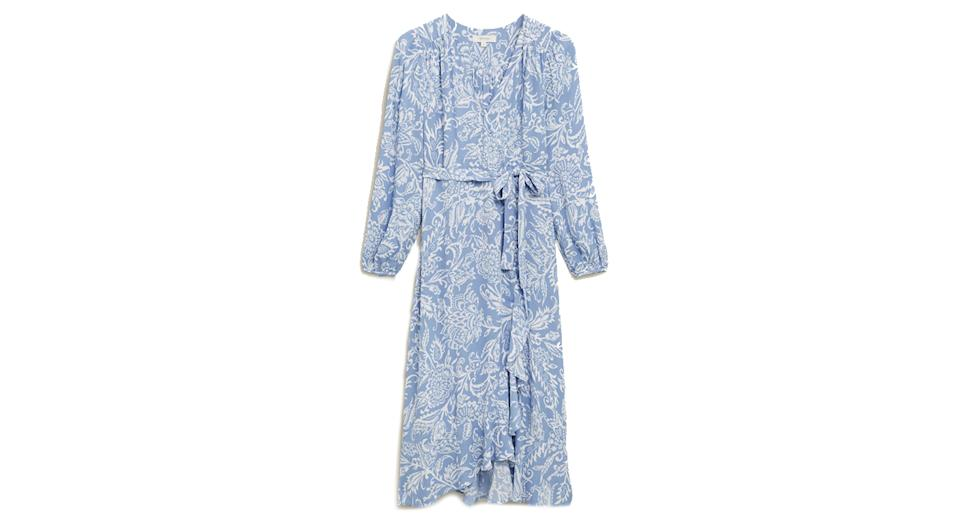 Floral Blouson Sleeve Midaxi Wrap Dress