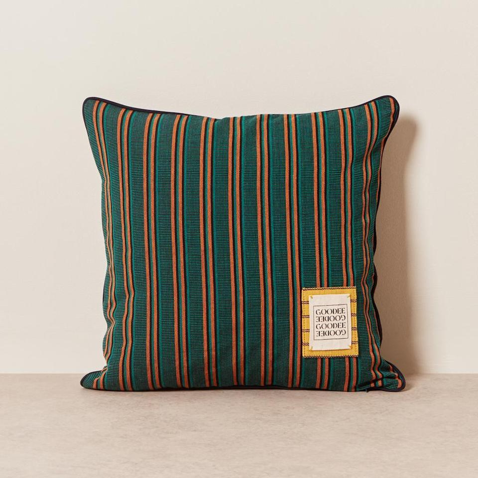 """$159, GOODEE. <a href=""""https://www.goodeeworld.com/collections/living-room/products/goodee-teal-pillow"""" rel=""""nofollow noopener"""" target=""""_blank"""" data-ylk=""""slk:Get it now!"""" class=""""link rapid-noclick-resp"""">Get it now!</a>"""