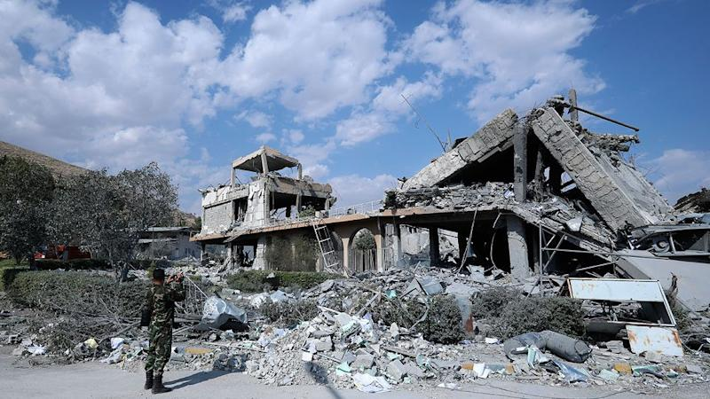 Thee damage done to the Syrian Scientific Research Centre during an air strike attack by the US, British and French militaries. Photo: SANA/ AP