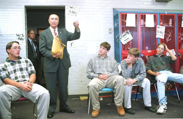 "<span class=""caption"">Senator Strom Thurmond addresses a classroom in South Carolina, October 20, 1996.</span> <span class=""attribution""><a class=""link rapid-noclick-resp"" href=""https://www.gettyimages.com/detail/news-photo/senator-strom-thurmond-addresses-a-classroom-october-20-news-photo/800757?adppopup=true"" rel=""nofollow noopener"" target=""_blank"" data-ylk=""slk:Alan Weiner/Liaison via Getty Images"">Alan Weiner/Liaison via Getty Images</a></span>"