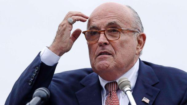 PHOTO: Rudy Giuliani, an attorney for President Donald Trump, addresses a gathering during a campaign event for Eddie Edwards, who is running for the U.S. Congress, in Portsmouth, N.H., Aug. 1, 2018.  (Charles Krupa/AP)