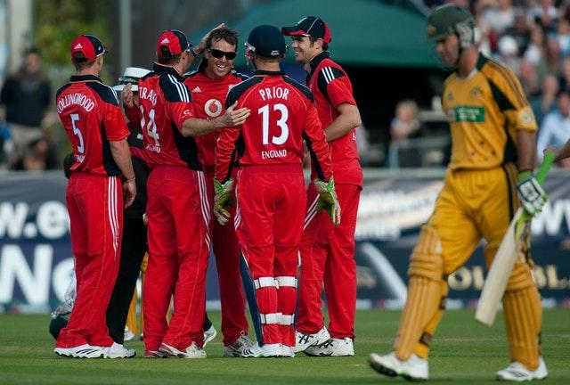 Australia captain Ricky Ponting, right, became Graeme Swann's first victim after being caught by Paul Collingwood for 53