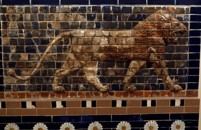 In this Wednesday, April 3, 2013 photo, a panel composed of glazed nicks showing in bas relief a lion, symbolizing Ishtar, the goddess of love and war, from the Ishtar gate, Babylon dating to Nabuchadnessar.(650-562.B.C.) is displayed at the Iraqi National Museum in Baghdad, Iraq. Ten years after Iraq's national museum was looted and smashed by frenzied thieves during the U.S.-led invasion in 2003 to topple Saddam Hussein, it's still far from ready for a public re-opening. Work to overcome decades of neglect and the destruction of war has been hindered by power struggles, poorly-skilled staff and the persistent violence plaguing the country, said Bahaa Mayah, Iraq's most senior antiquities official.(AP Photo/Hadi Mizban)