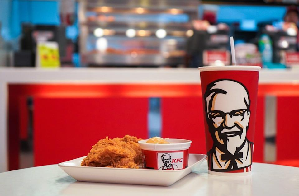 kentucky friend chicken plate and drink in store, hard state facts