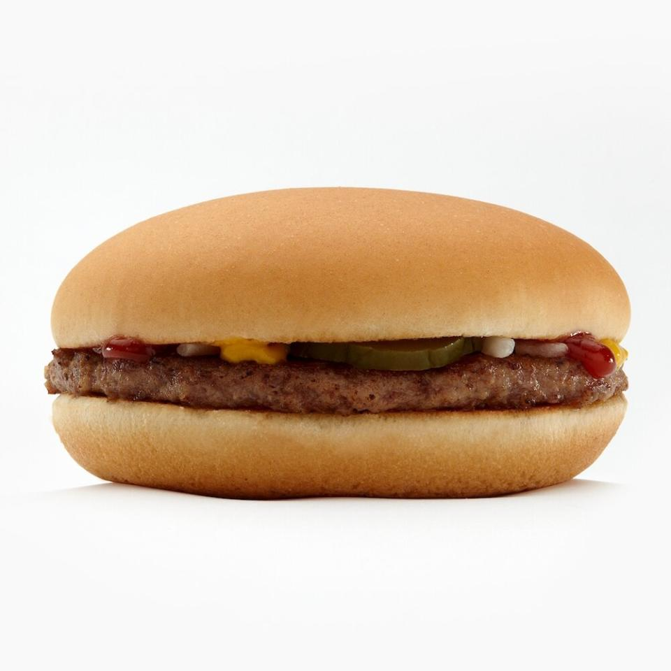 """<p>McDonald's probably isn't the first place you think of to grab a healthy meal, but sometimes it's the most convenient. Luckily, the fast-food joint has made a big push toward helping customers make better choices, like <a href=""""https://www.shape.com/healthy-eating/diet-tips/do-calorie-counts-fast-food-menus-really-work"""" target=""""_blank"""">adding calorie counts to their menu</a>, <a href=""""https://www.shape.com/healthy-eating/meal-ideas/mcdonalds-make-happy-meals-healthier-2022"""" target=""""_blank"""">making Happy Meals healthier by 2022</a>, and eliminating trans fats.</p> <p>You don't need to stick to salads either. """"Craving a burger? Go for it!"""" says <a href=""""http://www.sharonzarabi.com/about-me.html"""" target=""""_blank"""">Sharon Zarabi, R.D., C.D.N., C.P.T.</a>, the program director of bariatric surgery at Lenox Hill Hospital in New York. """"The 3.5-ounce serving of meat in the <a href=""""https://www.mcdonalds.com/us/en-us/product/hamburger.html"""" target=""""_blank"""">classic burger</a> contains a healthy dose of 12 grams of protein and is lowest in calories of all meat patties, at 240 calories and 8 grams of fat,"""" she says. You can add cheese for an additional 50 calories and 4 grams of fat.</p> <p>Not all burgers on the menu are created equal, though. Zarabi says to skip the bigger burgers, which can sometimes triple your portion size. Your best bet? """"Skip the bun, and throw that burger on a side salad with a light dressing,"""" she says.</p>"""