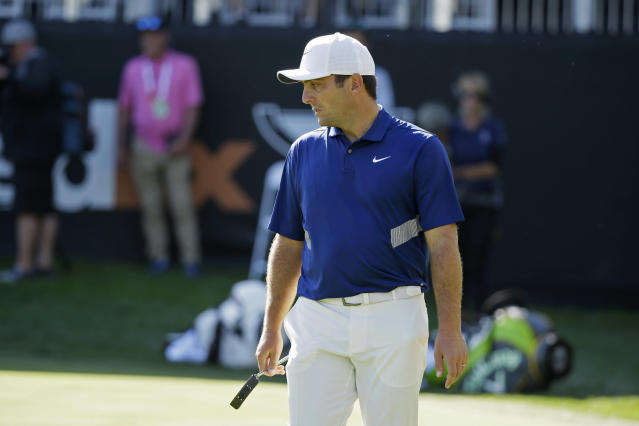 Francesco Molinari, of Italy, reads the 18th green of the Silverado Resort North Course during the first round of the Safeway Open PGA golf tournament Thursday, Sept. 26, 2019, in Napa, Calif. (AP Photo/Eric Risberg)
