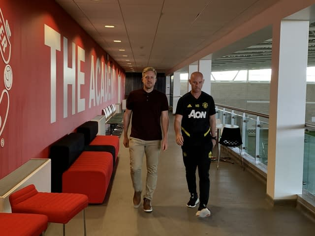 Manchester United head of first team development Nicky Butt (right) and head of academy Nick Cox (Simon Peach/PA)