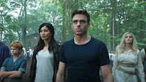 """<p>For <em>Eternals</em>, the studio has rounded up an all-star cast that includes Angelina Jolie, Richard Madden, Salma Hayek, Kumail Nanjiani, Brian Tyree Henry, Gemma Chan, Don Lee and Kit Harington for a movie directed by <em>Nomadland</em>'s Chloé Zhao. They tell the story of a race of super-beings who were sent to protect planet Earth. It's on the schedule for November 5, 2021.</p><p><a class=""""link rapid-noclick-resp"""" href=""""https://www.youtube.com/watch?v=0WVDKZJkGlY"""" rel=""""nofollow noopener"""" target=""""_blank"""" data-ylk=""""slk:WATCH TRAILER"""">WATCH TRAILER</a></p>"""