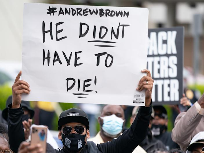 <p>Protestors call for justice after the death of Andrew Brown.</p> (Getty Images)