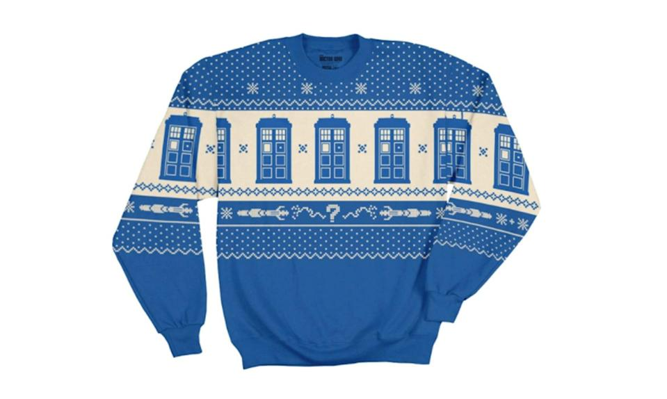 """<p>It's all Tardises — Tardi? — and Sonic Screwdrivers on this very pretty blue and white jumper (that's British for sweater, as any Whovian surely knows). <strong><a rel=""""nofollow noopener"""" href=""""https://www.ripplejunction.com/doctor-who-tardis-adult-printed-fleece.html?utm_source=google_shopping&92=175&170=106&gclid=EAIaIQobChMI46--kNDS1wIVSFgNCh1eLA1TEAQYBCABEgI18fD_BwE"""" target=""""_blank"""" data-ylk=""""slk:Buy here"""" class=""""link rapid-noclick-resp"""">Buy here</a></strong> </p>"""