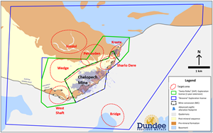 Key target areas for Chelopech brownfield exploration activities in 2021.