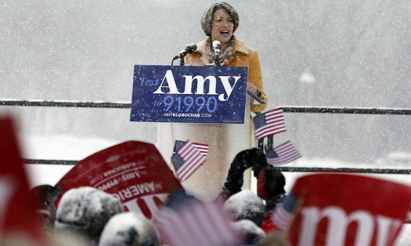 Democratic senator Amy Klobuchar addresses a snowy rally where she announced she is entering the race for US president in Minneapolis on Sunday.