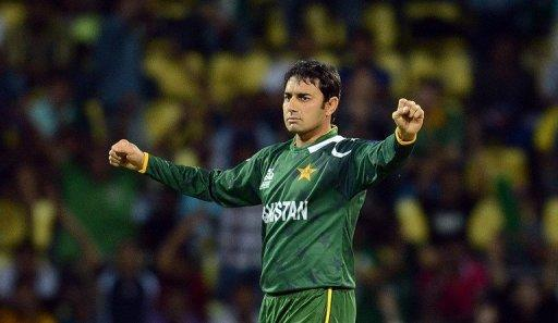 Pakistan bowler Saeed Ajmal celebrates the wicket of New Zealand cricketer Daniel Vettori during the ICC Twenty20 Cricket World Cup match between Pakistan and New Zealand in Pallekele. Ajmal took four wickets as Pakistan kept their nerve to pull off an exciting 13-run win over New Zealand in the World Twenty20 group D match