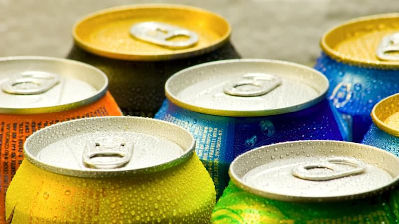 The tops of soda cans