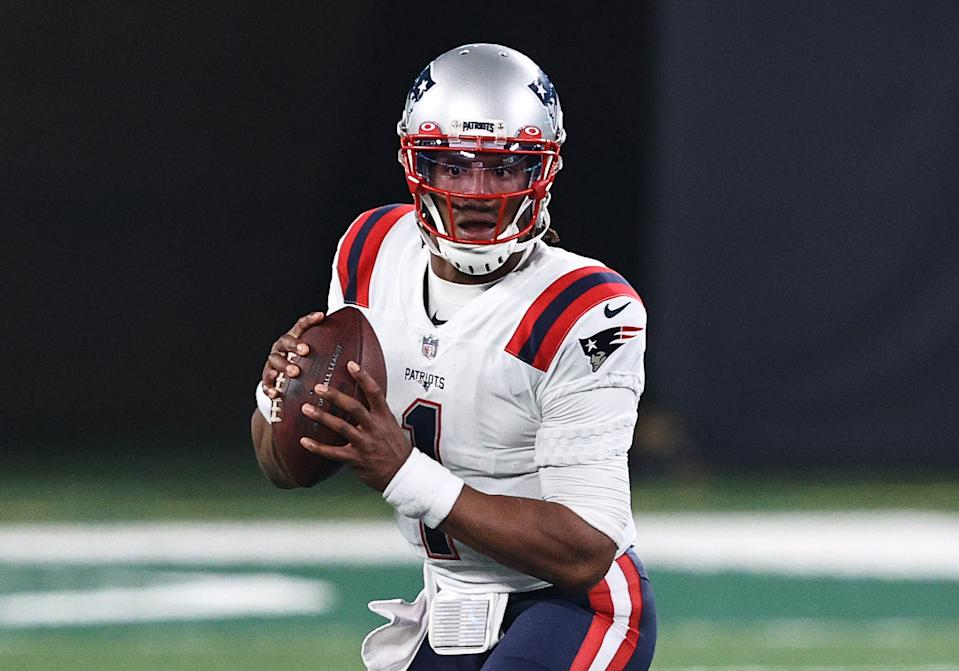 Cam Newton and the Patriots face the Ravens in one of Week 10's marquee NFL clashes. (Photo by Elsa/Getty Images)