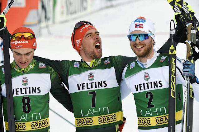 Lahti Ski Games - FIS Nordic Combined World Cup - Men's Gundersen - Lahti, Finland - March 4, 2018 - Vinzenz Geiger of Germany, Johannes Rydzek of Germany and Joergen Graabak of Norway celebrate. Lehtikuva/Markku Ulander/ via REUTERS ATTENTION EDITORS - THIS IMAGE WAS PROVIDED BY A THIRD PARTY. NO THIRD PARTY SALES. NOT FOR USE BY REUTERS THIRD PARTY DISTRIBUTORS. FINLAND OUT.