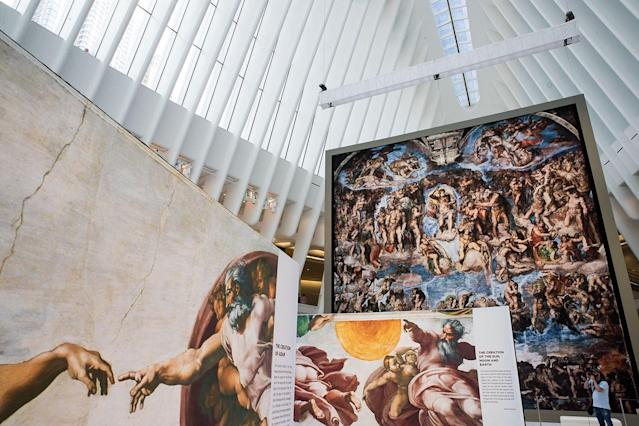 <p>Replicas of Michelangelo's Sistine Chapel frescoes are displayed inside of the Oculus at the World Trade Center Transportation Hub in New York City. The exhibit contains 34 nearly life-size copies of the Sistine Chapel frescoes in Rome. (Photo by Drew Angerer/Getty Images) </p>