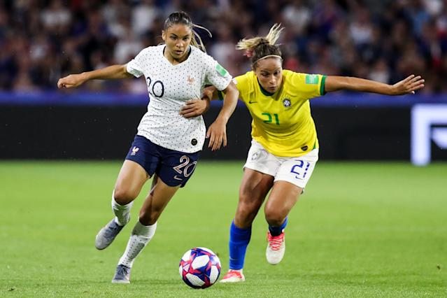 #20 Delphine Cascarino of France competes for the ball with #21 Monica of Brazil during the 2019 FIFA Women's World Cup France Round Of 16 match between France and Brazil at Stade Oceane on June 23, 2019 in Le Havre, France. (Photo by Zhizhao Wu/Getty Images)