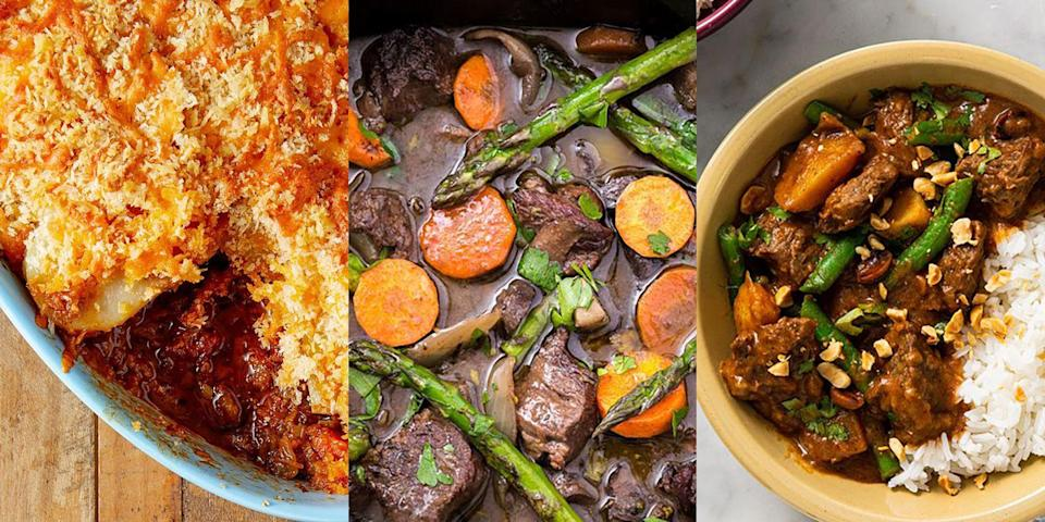 """<p>Braising. Steak. There's nothing quite like slow cooking chunks of delicious meat and ending up with the most tender, unctuous <a href=""""https://www.delish.com/uk/easy-dinner-ideas/"""" rel=""""nofollow noopener"""" target=""""_blank"""" data-ylk=""""slk:dinner"""" class=""""link rapid-noclick-resp"""">dinner</a>, am I right? Whether it's for a <a href=""""https://www.delish.com/uk/cooking/recipes/a28830324/slow-cooker-red-wine-beef-stew-recipe/"""" rel=""""nofollow noopener"""" target=""""_blank"""" data-ylk=""""slk:Slow Cooker Beef Stew"""" class=""""link rapid-noclick-resp"""">Slow Cooker Beef Stew</a>, a <a href=""""https://www.delish.com/uk/cooking/recipes/a30148153/steak-and-kidney-pie/"""" rel=""""nofollow noopener"""" target=""""_blank"""" data-ylk=""""slk:Steak and Kidney Pie"""" class=""""link rapid-noclick-resp"""">Steak and Kidney Pie</a> or a <a href=""""https://www.delish.com/uk/cooking/recipes/a30621972/beef-massaman-curry/"""" rel=""""nofollow noopener"""" target=""""_blank"""" data-ylk=""""slk:Beef Massaman Curry"""" class=""""link rapid-noclick-resp"""">Beef Massaman Curry</a>, that stuff's magical! And with so many recipes to choose from, you'll find yourself buying the stewing meat a little more often than you had originally thought... For a selection of delicious-tasting braising steak recipes, take a look at some of our all-time favourites now. Trust us, you'll love 'em! </p>"""