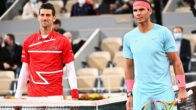 Novak Djokovic and Rafael Nadal, pictured here before the French Open final.