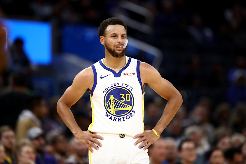 SAN FRANCISCO, CALIFORNIA - OCTOBER 18:  Stephen Curry #30 of the Golden State Warriors in action against the Los Angeles Lakers at Chase Center on October 18, 2019 in San Francisco, California. NOTE TO USER: User expressly acknowledges and agrees that, by downloading and or using this photograph, User is consenting to the terms and conditions of the Getty Images License Agreement. (Photo by Ezra Shaw/Getty Images)