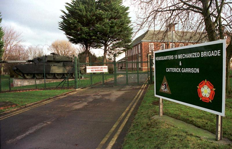A general view of Catterick Garrison, North Yorkshire today (Tuesday). The Army has warned soldiers at the Garrison to have Aids tests immediately because at least two women who live nearby are infected and are believed to be regularly sleeping with men from the base. 05/08/03 Police were brought in to investigate the circumstances of the death of a 21-year-old soldier who was found hanged at one of Europe's largest military garrisons, the Army confirmed. Lance Corporal Derek McGregor, 21, from Blackpool, Lancs, was found dead at Catterick Garrison in North Yorkshire on July 7, an Army spokesman said.He was a medical technician with the 3 Close Support Medical Regiment.