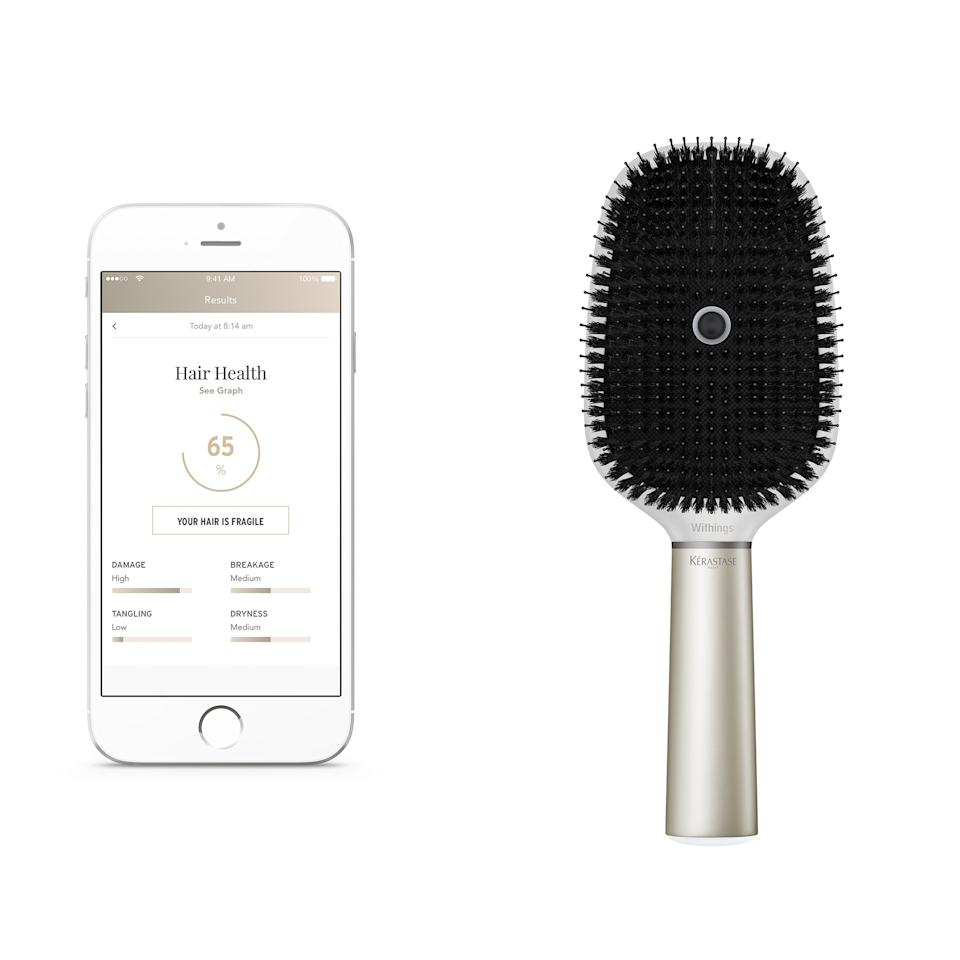 "<p>This <a rel=""nofollow"" href=""http://www.allure.com/story/kerastase-hair-coach?mbid=synd_yahoobeauty"">hair brush</a> is unlike any other brush you've seen before. It packs a microphone, gyroscope, accelerometer, conductivity sensors, and Bluetooth and Wi-fi connectivity that gives you sound advice on how to take care of your hair better. It works with a wide variety of hair types, so even if your hair's stuperthin or superthick, it's got you covered.</p><p>$200 (<a rel=""nofollow"" href=""http://www.kerastase-usa.com/connected-brush?mbid=synd_yahoobeauty"">Shop Now</a>).</p>"
