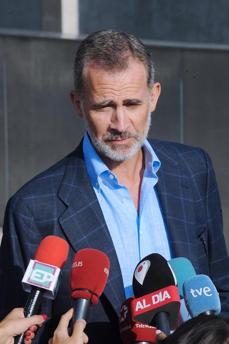 MADRID, SPAIN - AUGUST 28: King Felipe of Spain is seen arriving to visit King Juan Carlos at Quiron Hospital on August 28, 2019 in Madrid, Spain. (Photo by Europa Press Entertainment/Europa Press via Getty Images)