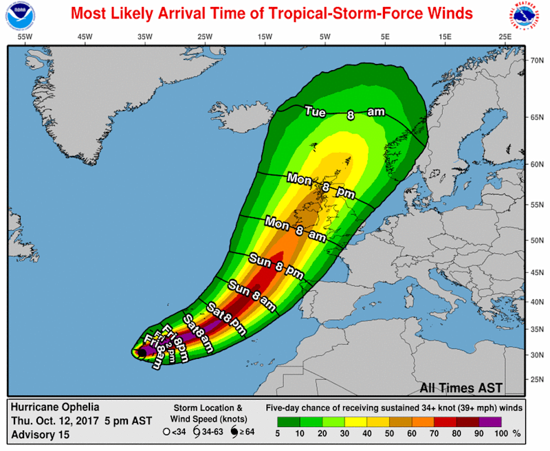 hurricane ophelia winds